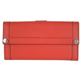 NEW Gucci 231839 Coral Red Leather Plaque Logo Continental Wallet Clutch