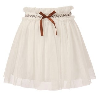 Richie House Little Girls White Coffee Accents Tulle Skirt 2-5
