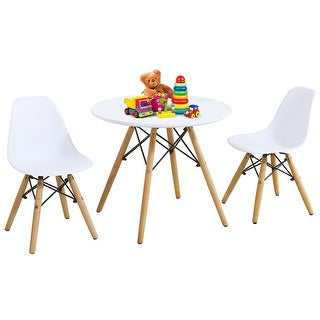 Link to Gymax Kids Modern Dining Table Set Round Table with 2 Armless Chairs Similar Items in Kids' & Toddler Furniture