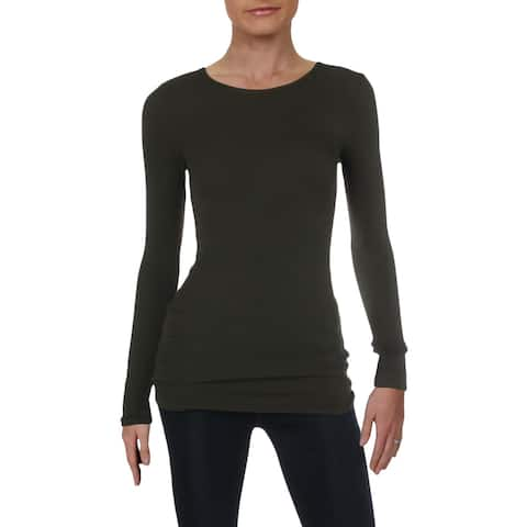 Three Dots Womens Knit Top Long Sleeves Jewel Neck
