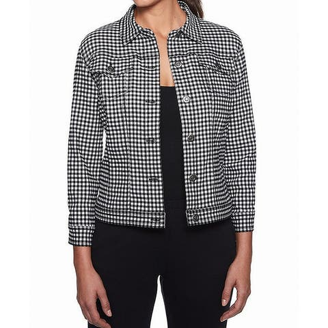 Ruby Rd. Women's Jacket Black White Size 12 Gingham Button-Front