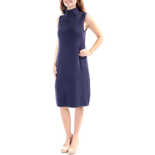 Cowl Neck Sheath Dresses: Shop ALFANI Womens Navy Sleeveless Cowl Neck Knee Length