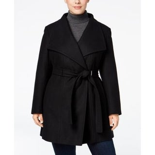 Calvin Klein Plus Size Belted Walker Coat Black