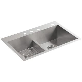 """Kohler K-3838-4  Vault 33"""" Double Basin Top-Mount/Under-Mount 18-Gauge Stainless Steel Kitchen Sink with Smart Divide"""