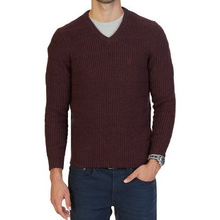 Nautica NEW Solid Red Mens Size XL Pullover Ribbed V-Neck Sweater