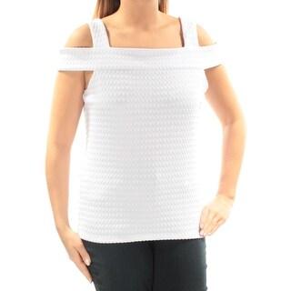 Womens White Sleeveless Square Neck Top Size L