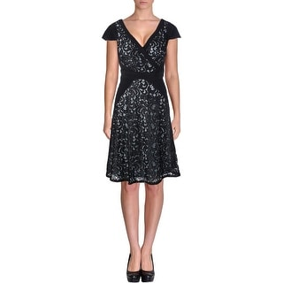 Adrianna Papell Womens Lace Overlay Surplice Cocktail Dress