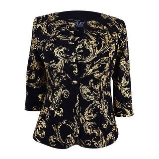 Alex Evenings Women's Petite Metallic Scroll-Print Jacket Set - Black/gold