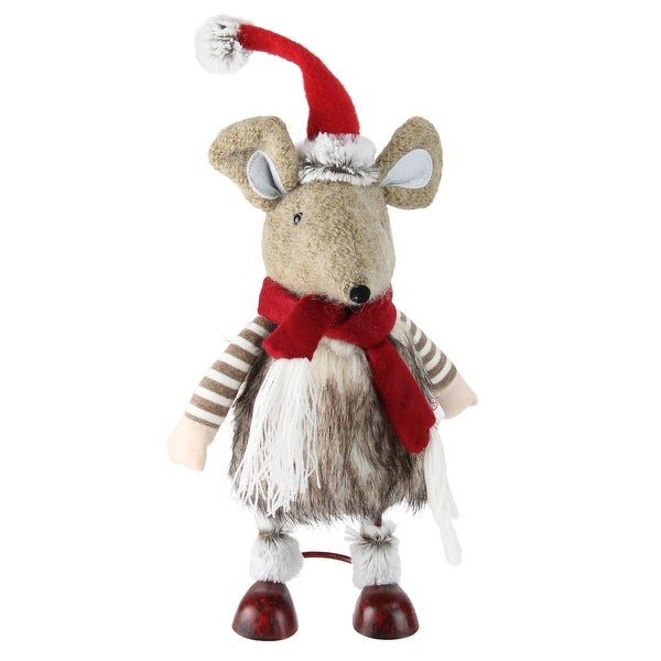 "12"" Fuzzy Brown Bouncy Bobble Action Mouse Christmas Figure Decoration"