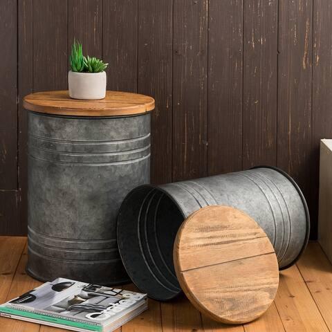 "Glitzhome 19""H Farmhouse Rustic Galvanized Enameled Metal Storage Stool Set of 2"