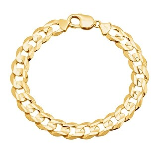 Just Gold Men's Flat Curb Chain Bracelet in 10K Gold - YELLOW