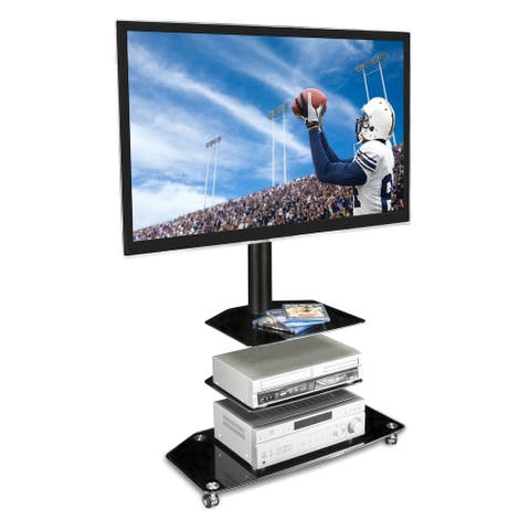 Mount-It! Mobile TV Stand with Rolling Casters & Three Glass Shelves