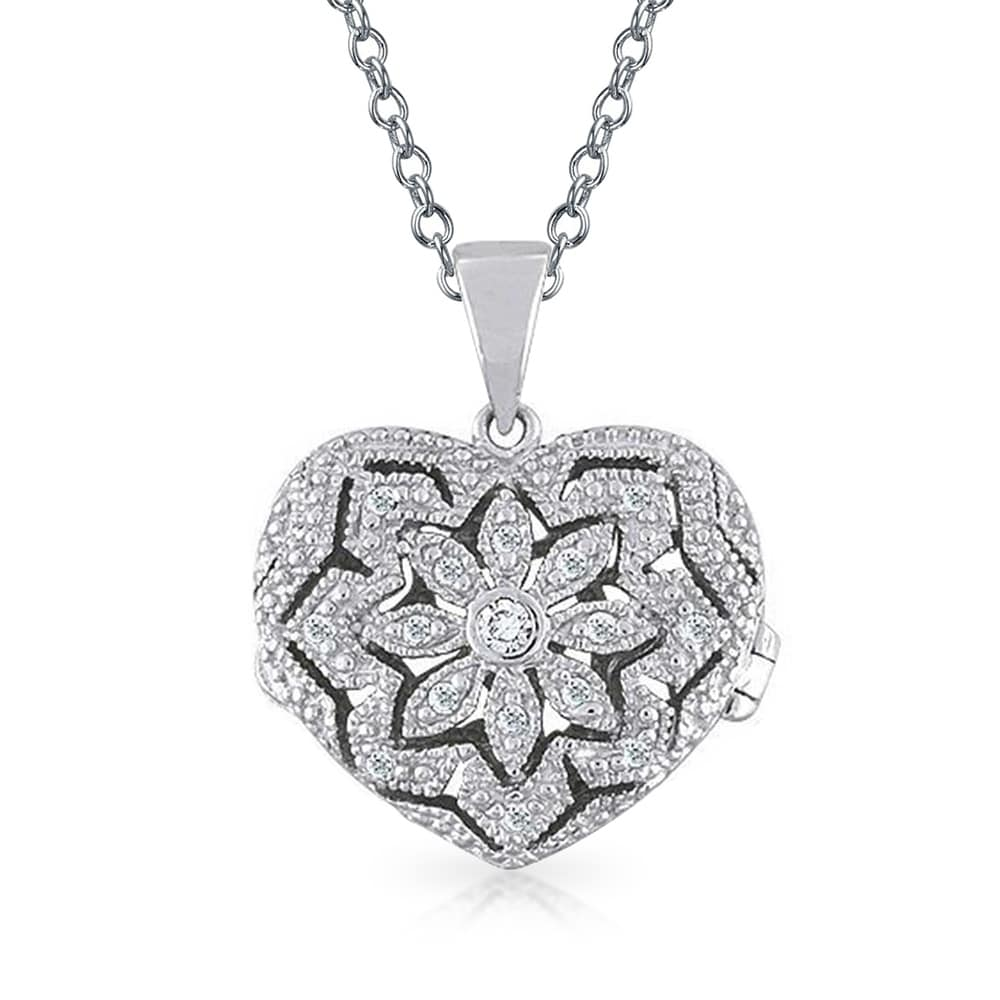 CZ Open Heart Aromatherapy Essential Oil Perfume Diffuser Locket - 18 (18 Inch - 18)