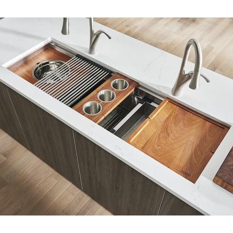 Ruvati 57-inch Workstation Ledge Kitchen Sink Undermount 16 Gauge Stainless Steel - RVH8555