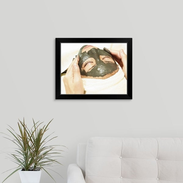 """""""Aesthetician Rubbing Mud Pack on Woman's Face"""" Black Framed Print"""