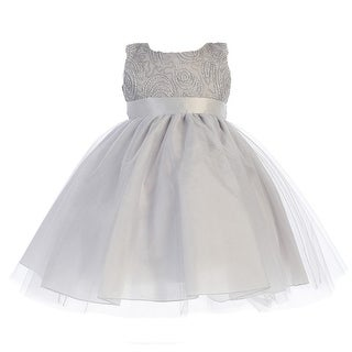 Baby Girls Silver Glitter Corded Top Shiny Tulle Occasion Dress 3-24M