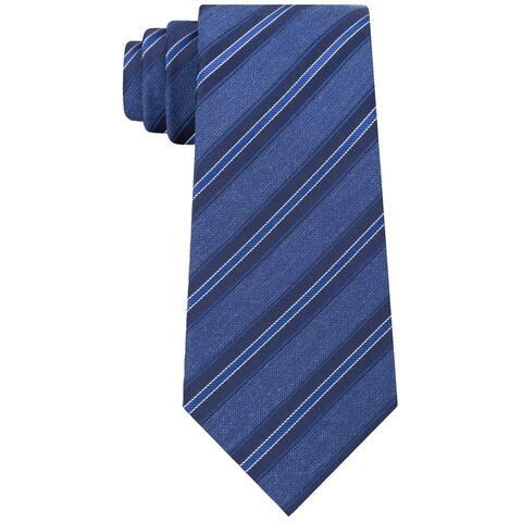 Kenneth Cole Reaction Men's Indigo Blue Mix Striped Neck Tie Slim Skinny