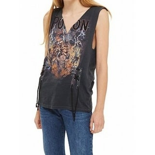 TopShop NEW Black Women's Size 4 Pretty Poison Band Tank Cami Top