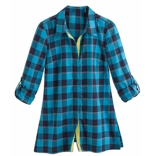 Women's Tunic Top - New Blue Plaid Button Down Flannel Shirt