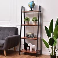 Costway 4-Tier Ladder Book Organizer Bookcase Storage Display Book Shelf Rack - Walnut