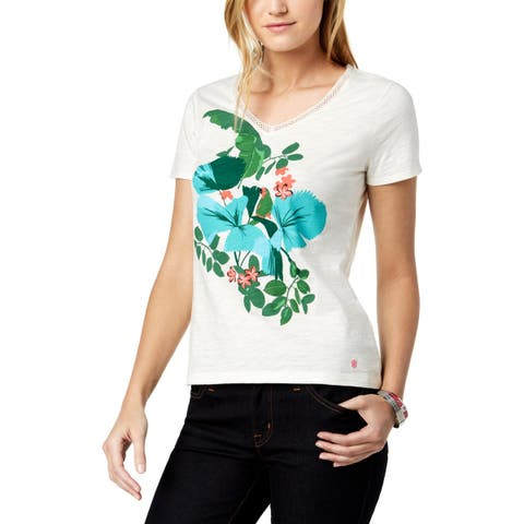 Tommy Hilfiger Womens T-Shirt Floral Print Short Sleeves