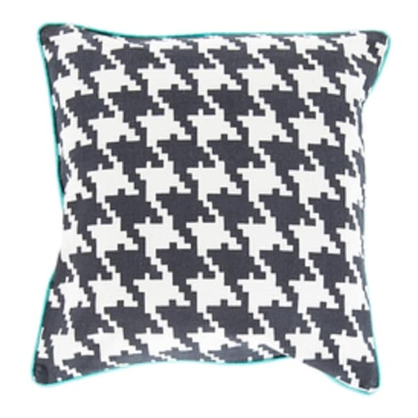"""20"""" Dark Gray, Ivory and Blue Hounds Tooth Decorative Throw Pillow - Down Filler"""