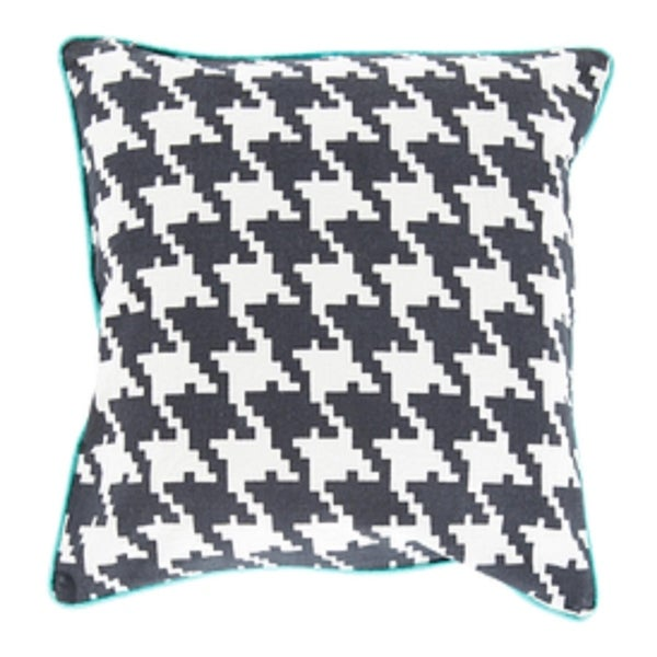 "22"" Dark Gray, Ivory and Blue Hounds Tooth Decorative Throw Pillow"