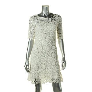 Lauren Ralph Lauren Womens Petites Cocktail Dress Crochet Party
