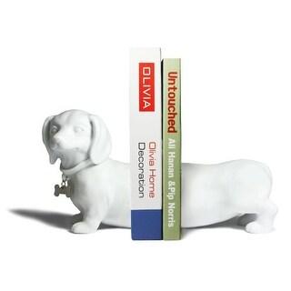 Danya B CSK8026 Dachshund Bookends - Set of 2 - White