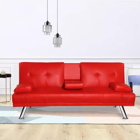 Adjustable Faux Leather Sofa Bed