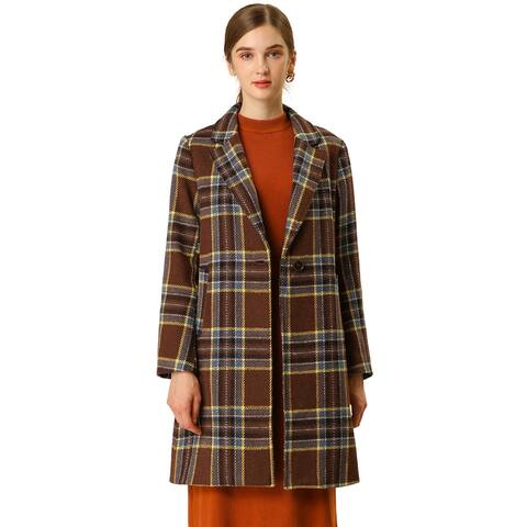Women's Plaid Notched Lapel Overcoat One Button Straight Winter Coat - Brown