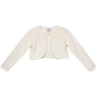 Flower Girl Sweater with Pearl Embellishments Ivory CC3010 (4 options available)