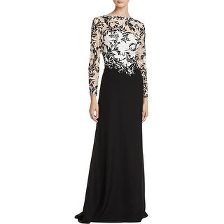 Tadashi Shoji Womens Evening Dress Mixed Media Embroidered