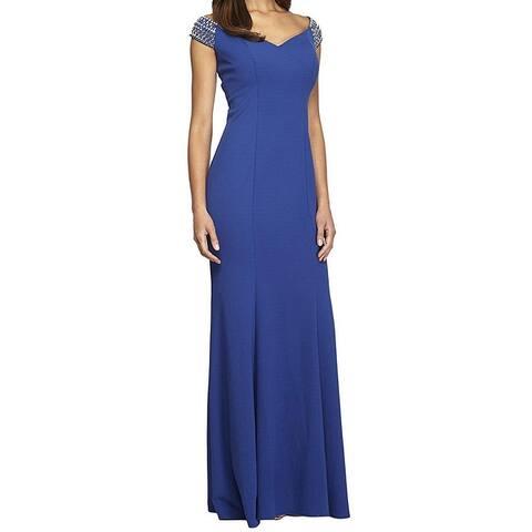 3b48c3fca5e Alex Evenings Blue Women s Size 16 Embellished Shoulder Gown