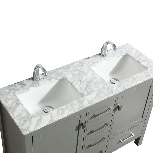 Eviva London 48 X 18 Gray Transitional Double Sink Bathroom Vanity W White Carrara Top Overstock 23565165