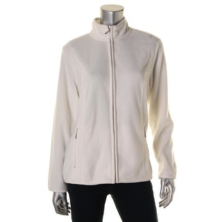 Karen Scott Womens Solid Long Sleeve Fleece Jacket - M