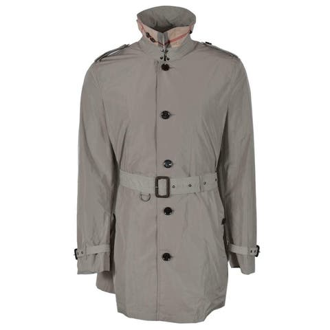 Burberry Brit Men's Taupe Brixton Nova Check Rain Trench Coat Jacket