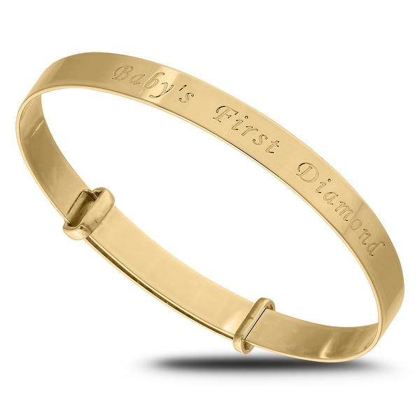Babys first Diamond Gold Bangle Bracelet for Baby Shower. Opens flyout.
