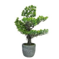 "21"" Decorative Artificial Japanese Bonsai Tree in Decorative Round Stone Pot - Grey"