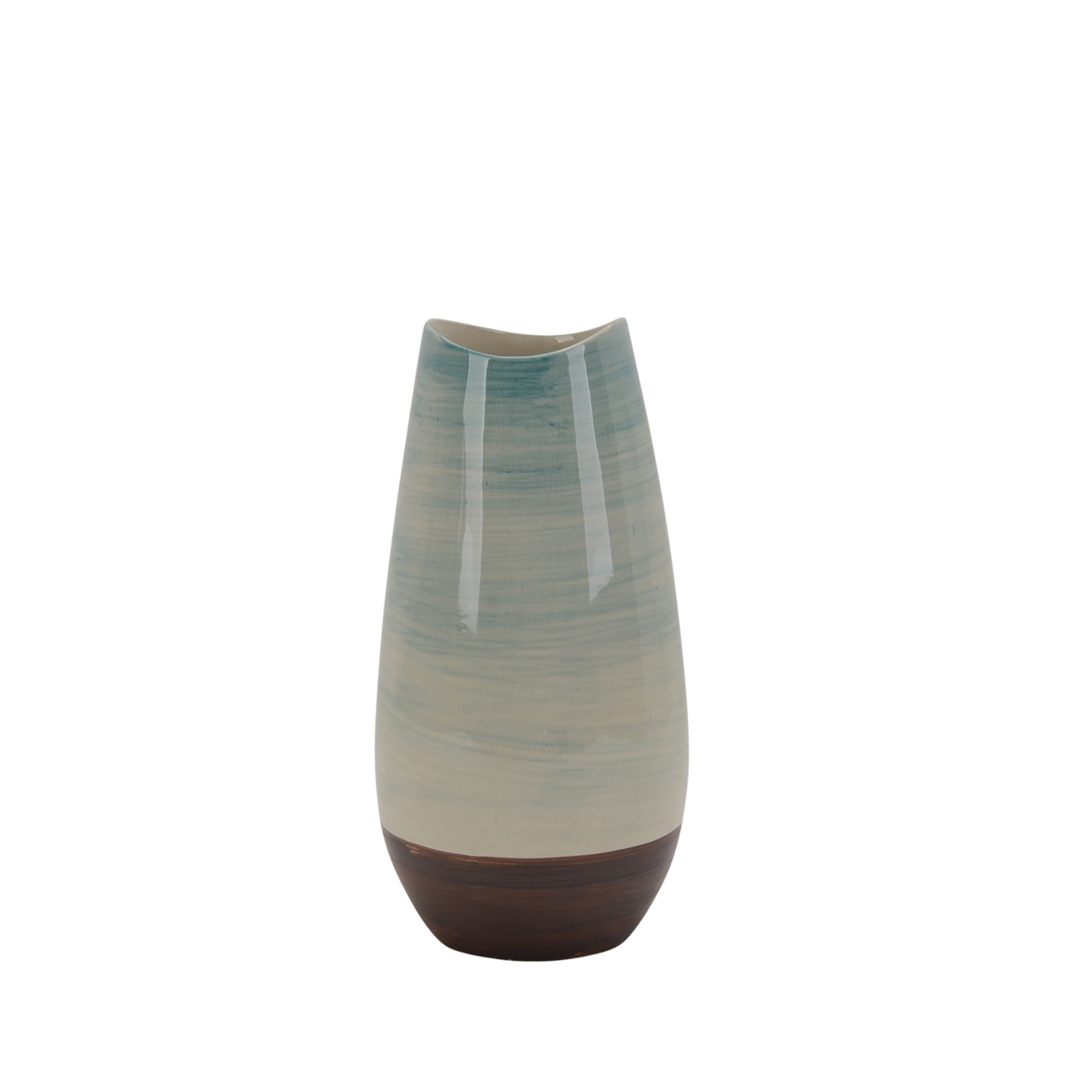 Transitional Style Ceramic Vase with Round Base, Multicolor
