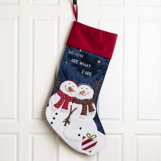 "Link to Glitzhome 36""L 3D Snowman Oversized Velvet Stocking Similar Items in Christmas Decorations"
