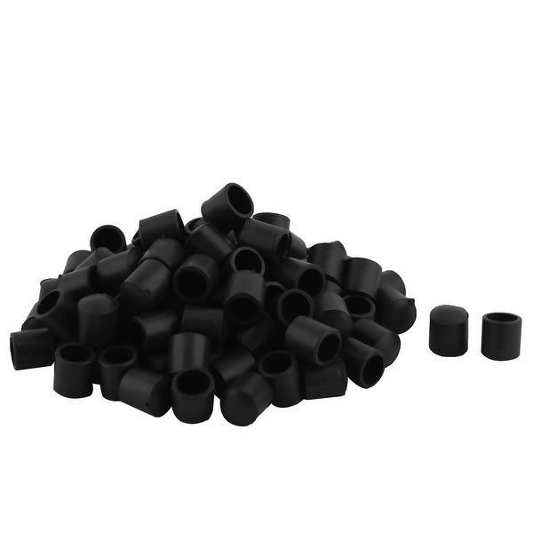 Furniture Chair Table Leg PVC Round Shape Foot Cover Black 10mm Inner Dia 100Pcs