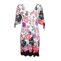 Msk  White Floral Printed Cold-Shoulder Cutout Dress 8