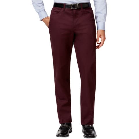 Alfani Mens Pants Burgundy Red Size 40x30 Straight Leg Chino Stretch