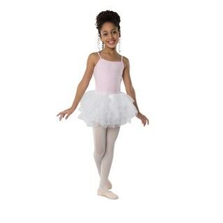 Danshuz Little Girls White Four Layer Chiffon Bow Attached Tutu Skirt