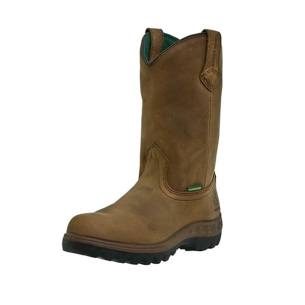 John Deere Work Boots Mens Leather Waterproof Wellington Tan