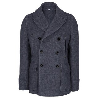 Hardy Amies Mens Slim Fit Wool Blend Double Breasted Melton Peacoat Large Blue