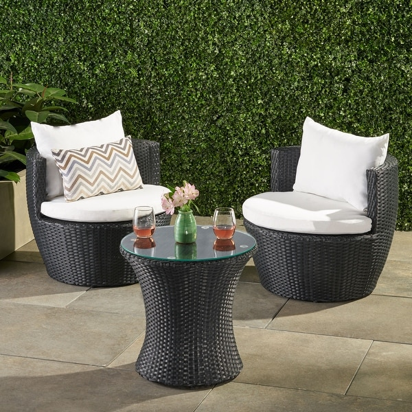 Kono 3-piece Wicker Chat Set by Christopher Knight Home. Opens flyout.
