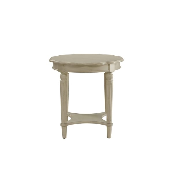 End Table In Antique White - Mdf, Solid Wood Leg Antique White