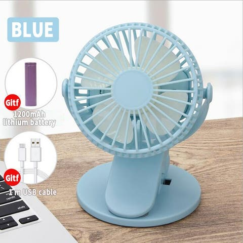 Portable Electric Mini Desktop Clip Fan with1200mAh Rechargeable USB Battery Desktop,for Baby Stroller Office Outdoor Travel